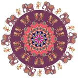 Beautiful greeting card with mandala, dancing monkeys and cute cartoon elephants in indian style. Stock Photo