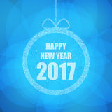 Beautiful greeting card with the new 2017 in blue with glitter effect. Vector. Illustration Stock Photos