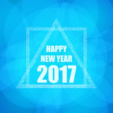 Beautiful greeting card with the new 2017 in blue with glitter effect. Vector. Illustration Royalty Free Stock Photos