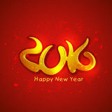Beautiful greeting card for New Year 2016 celebration. Glossy beautiful red greeting card with golden text 2016 for Happy New Year celebration Royalty Free Stock Photo