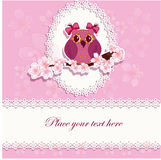 Beautiful greeting card with an owl on a branch Royalty Free Stock Images