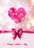 Beautiful greeting card with pink bow, polygonal Stock Image