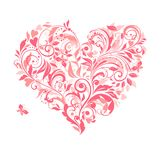 Beautiful greeting card with pink floral heart Stock Photos