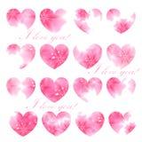Beautiful greeting card. Pink flowered hearts. Vector illustrati Stock Photos