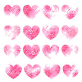 Beautiful greeting card. Pink flowered hearts. Vector illustrati Royalty Free Stock Photo