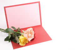 Beautiful Greeting card and roses Stock Photos