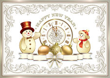 Beautiful greeting card with a snowman and a clock. In a frame with an ornament royalty free illustration