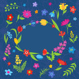 Beautiful greeting card with spring flowers blue Royalty Free Stock Photography