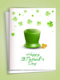Beautiful greeting card for St. Patricks Day celebration. Beautiful greeting card with envelope decorated by glossy leprechaun hat, coins and shamrock leaves Royalty Free Stock Image