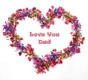 Greeting card to express your love for your Dad on Father Day. Beautiful Greeting card to express your love for your Dad on Father Day, on the shape of heart royalty free stock image