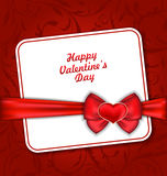 Beautiful Greeting Card for Valentines Day. Illustration Beautiful Greeting Card for Valentines Day with Red Heart and Bow Ribbon - Vector Royalty Free Stock Photos