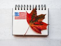 Beautiful greeting card on Veterans Day. Top view. Beautiful greeting card on Veterans Day. Top view, close-up, isolated background stock images