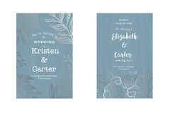 Beautiful greeting card. Vintage wedding design with silver floral elements Royalty Free Stock Photos