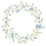Beautiful greeting card with a wreath of spring blue flowers on white background. Vector illustration Stock Photo