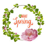 Beautiful greeting card with a wreath of spring pink roses and lettering on white background. Vector illustration Stock Photo