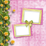 Beautiful greeting card with yellow roses and paper frame. Beautiful greeting card with bouquet of yellow roses, ribbons and paper frame Stock Photos