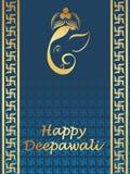 Beautiful greeting cards for diwali celebration. Blue swastika pattern, ganesha face greeting card for happy deepawali Vector Illustration