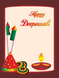 Beautiful greeting cards for diwali celebration. Happy deepawali background with collection of cracker, lit diya Stock Images