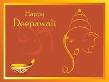 Beautiful greeting cards for diwali celebration. Happy deepawali greeting card with ganpati and diya Royalty Free Illustration
