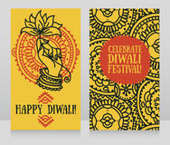 Beautiful greeting cards for diwali festival with indian god`s hand and lotus Stock Photography