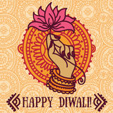 Beautiful greeting cards for diwali festival with indian god's hand and lotus. Vector illustration Stock Images