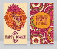 Beautiful greeting cards for diwali festival with indian god's hand and lotus. Vector illustration Royalty Free Stock Photo