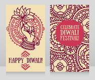 Beautiful greeting cards for diwali festival with indian god`s hand and lotus Stock Images