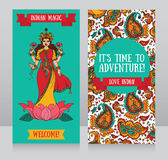 Beautiful greeting cards for diwali festival with indian goddess Lakshmi. And paisley ornament, vector illustration royalty free illustration