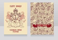 Beautiful greeting cards for diwali festival with indian goddess Lakshmi vector illustration