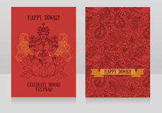 Beautiful greeting cards for diwali festival with indian goddess Lakshmi royalty free illustration