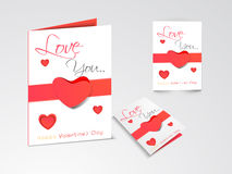 Beautiful greeting cards  for Happy Valentines Day celebration . Beautiful greeting cards or love cards with hearts and Love You text for Happy Valentines Day Royalty Free Stock Photos