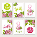 Beautiful greeting cards with the holiday of March 8, International Women`s Day with spring roses and lettering. Beautiful greeting cards with the holiday of Stock Photo
