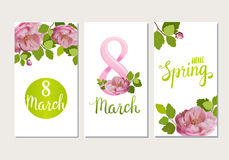 Beautiful greeting cards with the holiday of March 8, International Women`s Day with spring roses and lettering. Beautiful greeting cards with the holiday of Royalty Free Stock Photo