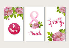 Beautiful greeting cards with the holiday of March 8, International Women`s Day with spring roses and lettering. Beautiful greeting cards with the holiday of Royalty Free Stock Photography