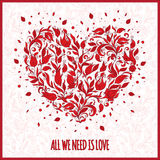 Beautiful greeting happy valentines day card of floral heart Royalty Free Stock Photography