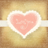 Beautiful greeting vintage Valentine`s card Royalty Free Stock Image