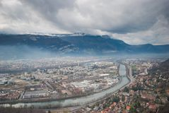 Beautiful Grenoble from Bastille, France Royalty Free Stock Images
