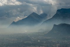 Beautiful Grenoble In Fog, France Royalty Free Stock Photography
