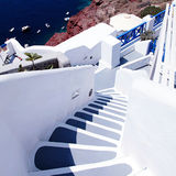 Beautiful grey and white steps and Aegean sea in Oia, Santorini, Stock Images