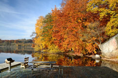 Beautiful grill place in autumn colors Stock Photos