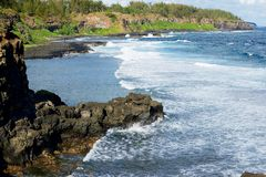 Beautiful Gris-Gris beach with blue sky and Indian ocean waves at Mauritius island. stock photo