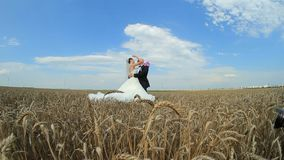 Beautiful Groom and Bride Hugging And Kissing Each stock footage