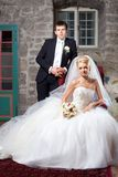 Beautiful groom and bride in interior Royalty Free Stock Image