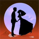 Beautiful groom and bride in romantic night. Vector illustration of beautiful groom and bride in romantic night on the sky background with Giant full moon Royalty Free Stock Photography