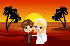 Beautiful groom with fiancee on the coast of sea at sunset Royalty Free Stock Photography