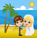 Beautiful groom with fiancee on the coast of sea Royalty Free Stock Images