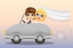 Beautiful groom with fiancee go in a wedding trip on a car Royalty Free Stock Photo