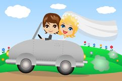 Beautiful groom with fiancee go in a wedding trip on a car. Vector illustration Stock Image