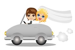 Beautiful groom with fiancee go in a wedding trip on a car. Vector illustration Royalty Free Stock Photos