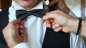 Beautiful groom morning in the hotel room. The groom wears butterfly tie stock footage